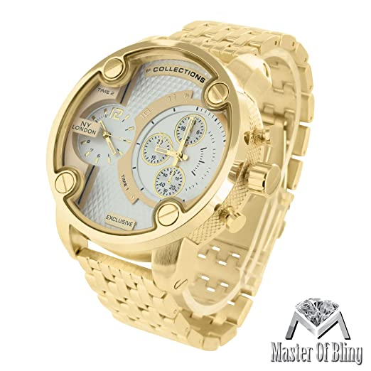 amazon com multiple time zone watch mens xl large dial 14k gold amazon com multiple time zone watch mens xl large dial 14k gold tone joe rodeo jojino look watches