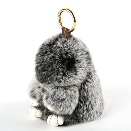 7a9b4610aaf YISEVEN Stuffed Bunny Keychain Toy - Soft and Fuzzy Large Stitch Plush Rabbit  Fur Key Chain