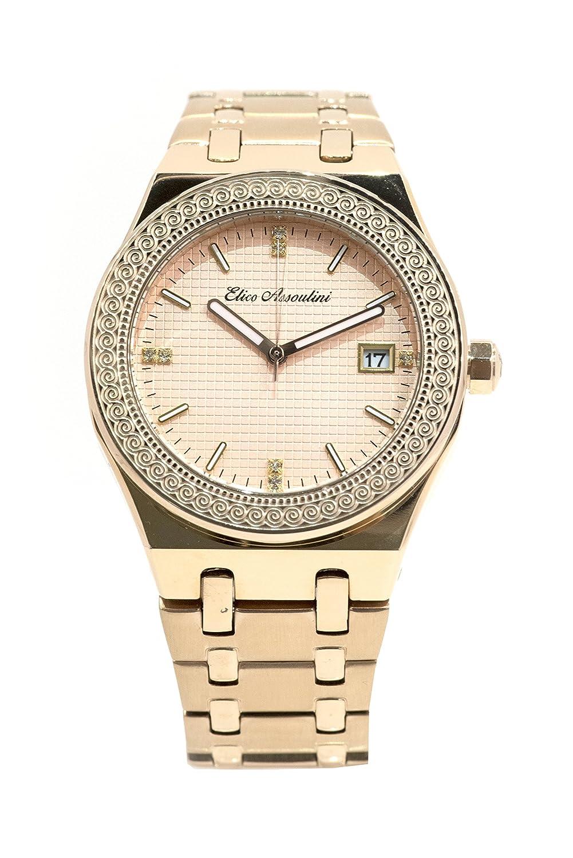 Amazon.com: Elico Assoulini CL76026 Braccialetto Piccola | Unisex Luxury Link Wrist Watch | Japanese Quartz Analog - 53mm Case Size, Rose Gold: Elico ...