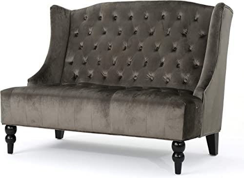 Christopher Knight Home Leona Traditional High Back Tufted Winged Fabric Loveseat Grey