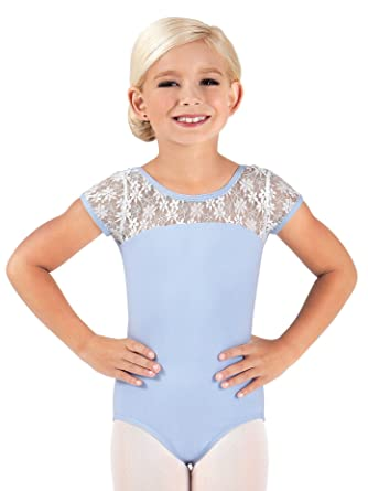 af0872a5a0a0 Amazon.com  Child and Toddler Floral Lace Cap Sleeve Leotard BT5070C ...