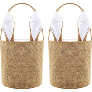 Easter Egg Basket Bunny Burlap Bag Easter Handbag for Carrying Eggs Candies and Gifts (White, 2 Pieces)