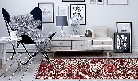 NAZAR Tapis DE Salon DIFFERENTES Couleurs ET Tailles Couloir ET Cuisine Imitation Carreaux DE Ciment Rouge, 50x100cm