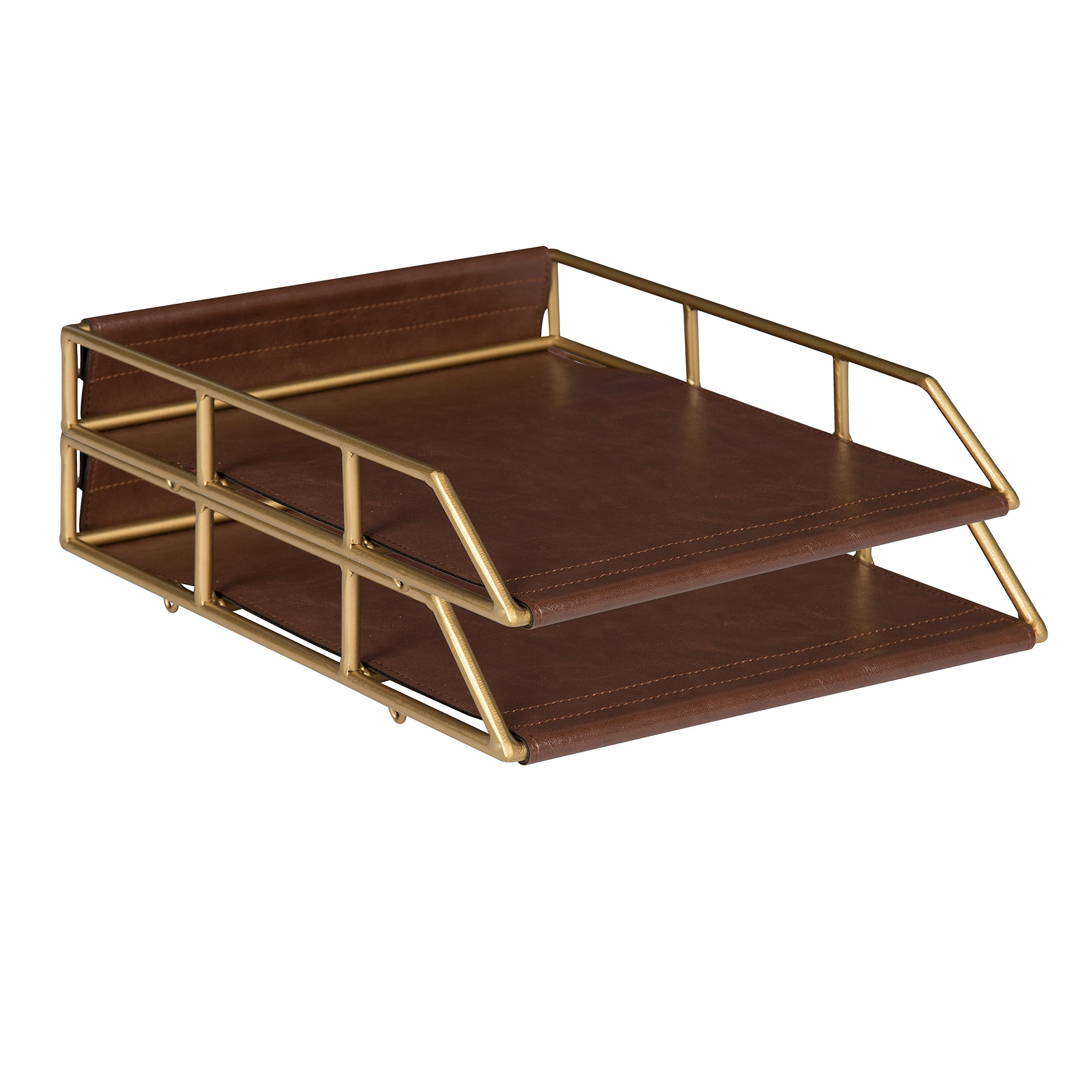 Kate and Laurel Alton Stacked Metal and Faux Leather Letter Trays, Brown and Gold