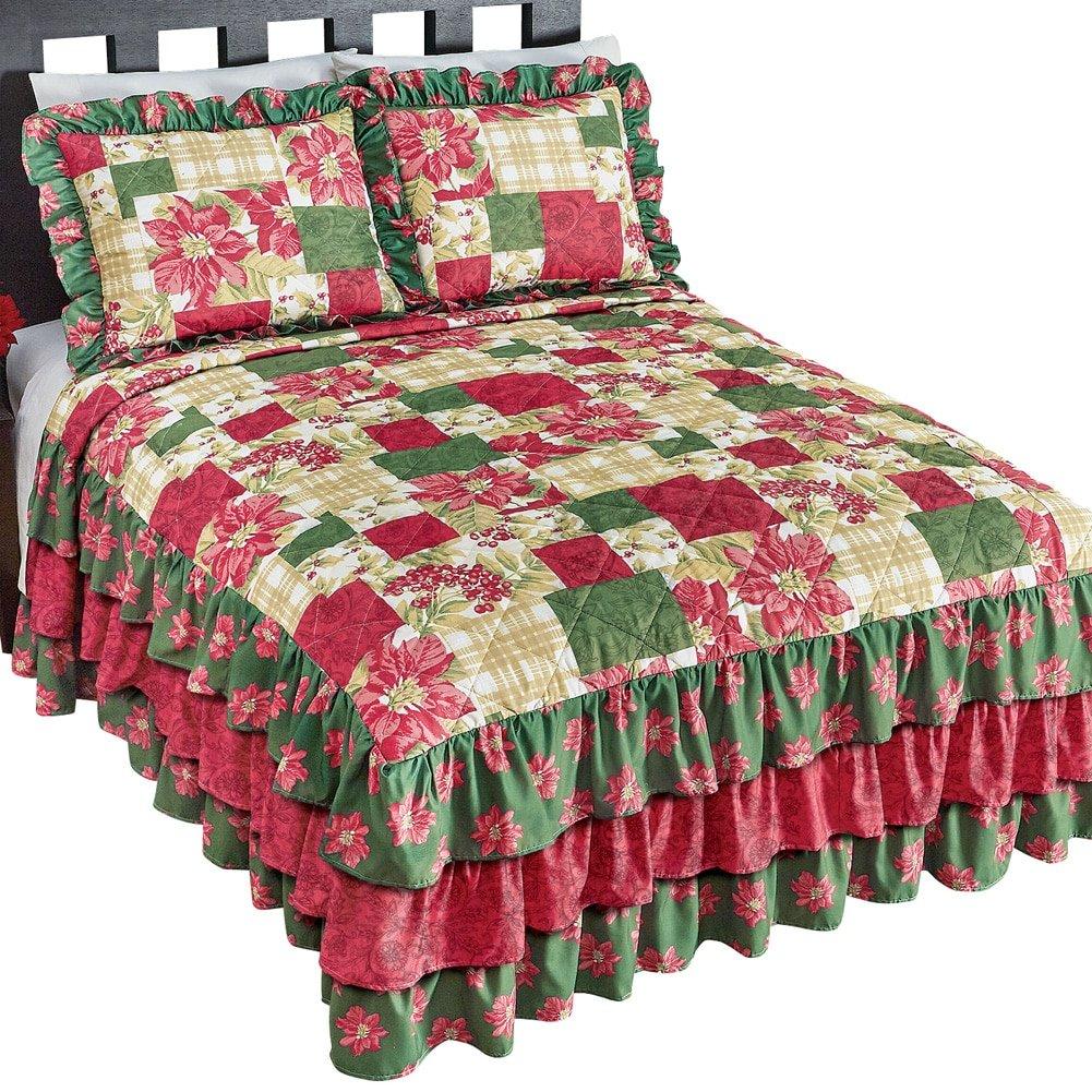 ポインセチアクリスマス寝具W /フリル キング 40997 MLTI KING B075H7H7NQ キング|マルチカラー マルチカラー キング