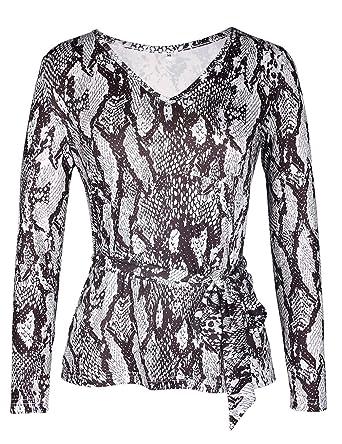 Amazon.com  Womens Long Sleeve V Neck Wrap Front Snake Print Top ... a5ef352e4c
