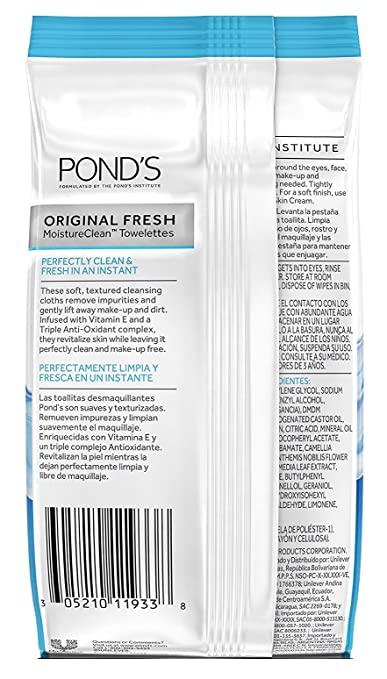 Amazon.com: Ponds Towelettes Original Fresh 28 Count (30ml) (6 Pack): Beauty
