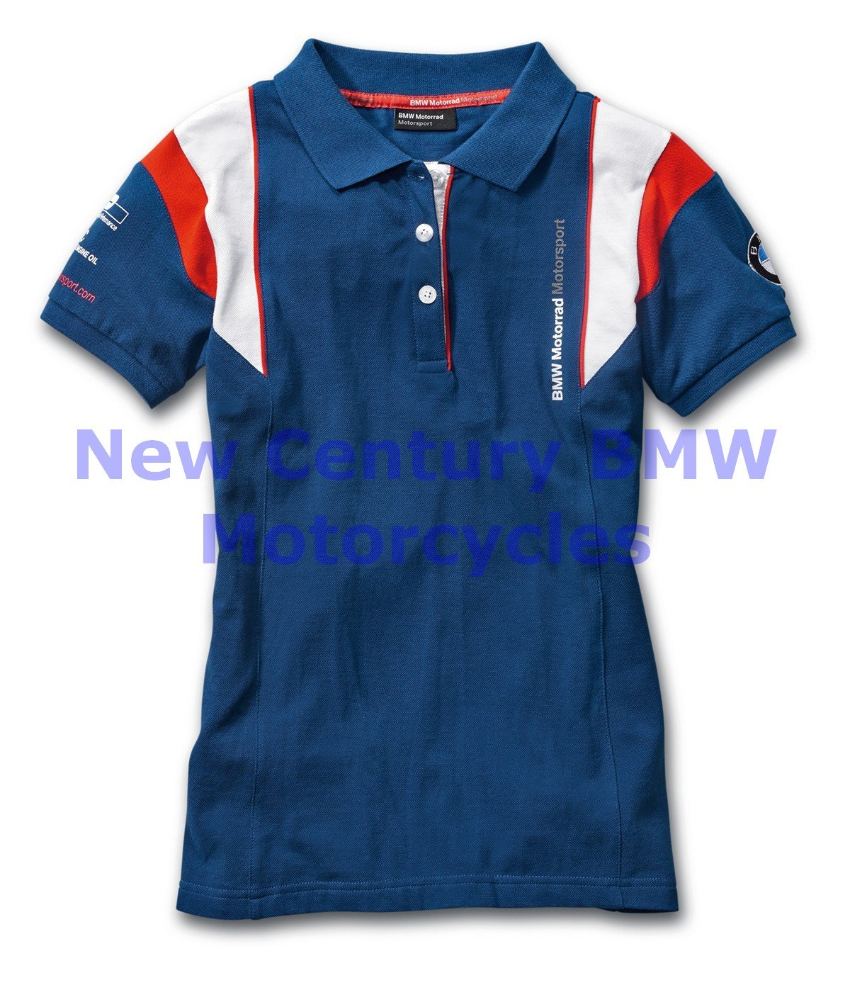 BMW Genuine Motorcycle Women Motorsport Poloshirt Blue/White/Red L Large
