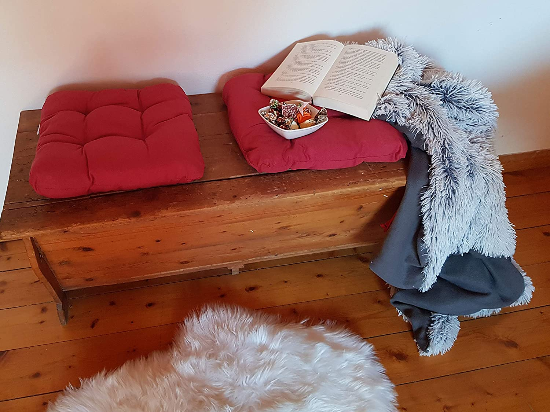 Tanti Colori ZOLLNER 4 Cuscini da Sedia per Dentro e Fuori Rosso 38x38x6 cm