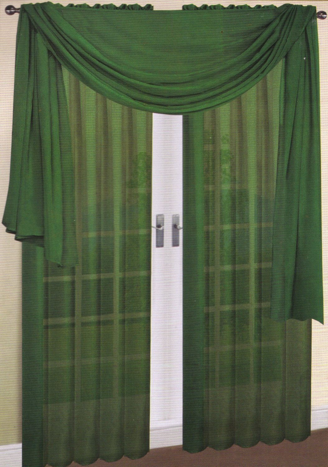 LuxuryDiscounts 2 Piece Solid Hunter Green Elegant Sheer Curtains Fully Stitched Panels Window Treatment Drape