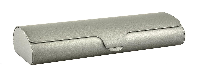 Estuche para gafas plano con cubierta de aluminio y cierre automático en diferentes colores