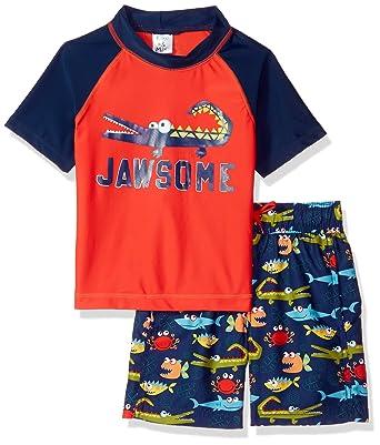 790f3259ec9f3 KIKO & MAX Baby Boys Swimsuit Set with Short Sleeve Rashguard Swim Shirt,  Jawsome Alligator