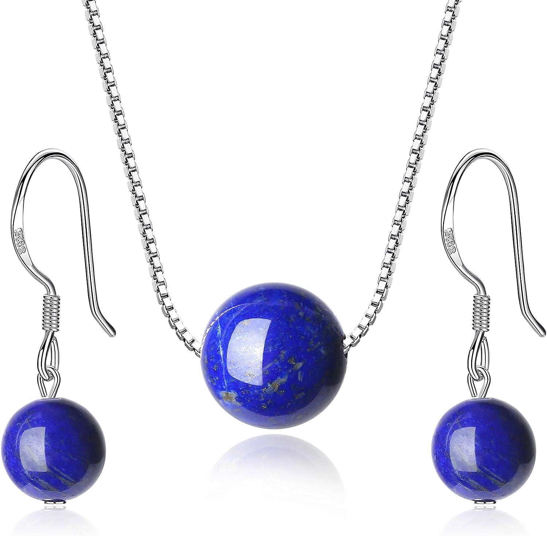 COAI Congiunto Collar y Pendientes de Plata de Ley con Piedras Naturales
