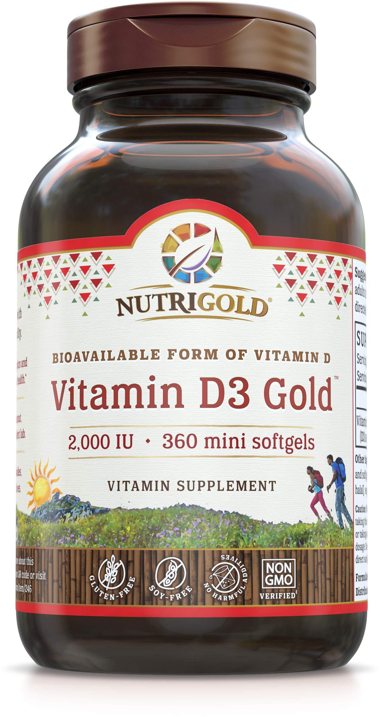 Nutrigold Vitamin D3 Gold (in Organic Olive Oil), 2000 IU, 360 softgels by Nutrigold