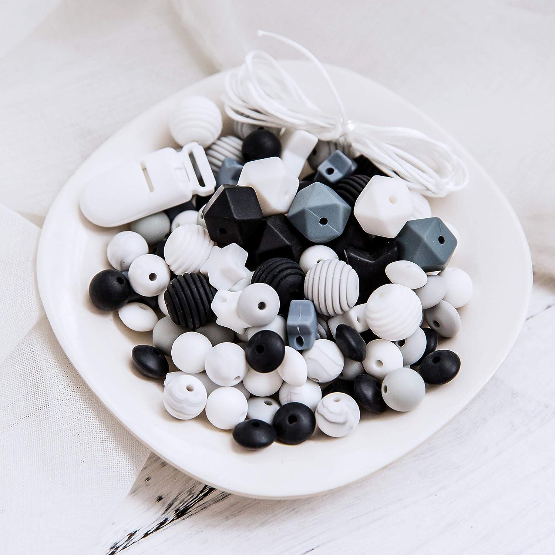 Serie Gris Promise Babe Silicona Teether Beads DIY Set El Regalo de Ducha de Juguete Para la Dentici/ón M/ás Adecuado Durante la Dentici/ón del Beb/é