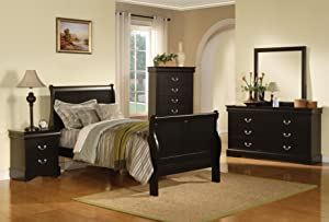 ACME 19508F-SP Louis Philippe III Bed, Full, Black Finish