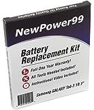 Kit de Remplacement de Batterie pour Samsung GALAXY Tab 3 10.1 Série (GALAXY Tab 3 10.1 GT-P5200, GALAXY Tab 3 10.1 GT-P5210) Tablet avec Vidéo d'Installation, Outils, et Batterie longue durée.