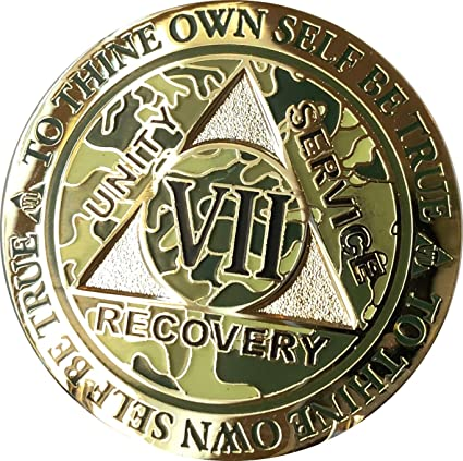 7 Year AA Medallion Reflex Camo Gold Plated Sobriety Chip Camouflage Coin VII
