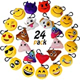 "MelonBoat 24 Pack Emoji Mini Plush Pillows, Keychain Decorations, emoticon pillow, Kids Party Supplies Favors, 2"" Set of 24"