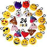 """Amazon Price History for:MelonBoat 24 Pack Emoji Mini Plush Pillows, Keychain Decorations, emoticon pillow, Kids Party Supplies Favors, 2"""" Set of 24"""