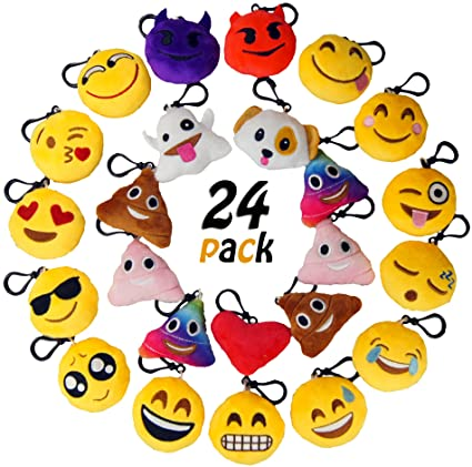 MelonBoat 24 Pack 2quot Emoji Plush Keychain Mini Pillows Backpack Clips Emoticon Poop