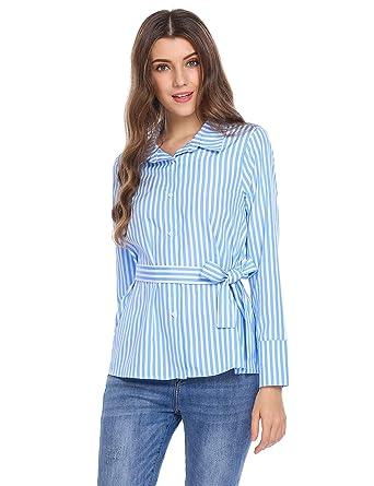 1a88ac0f Zeagoo Striped Shirts Women Long Sleeve Button Down Collar Blouses Tops Blue  S