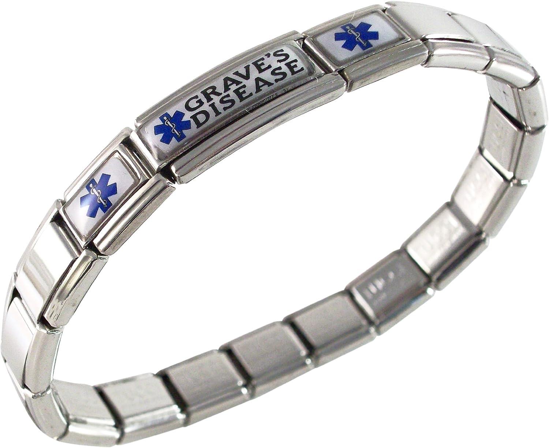 Graves Disease Bracelet Medical Alert for Men or Women Stretchable Adjustable Awareness Stainless Steel