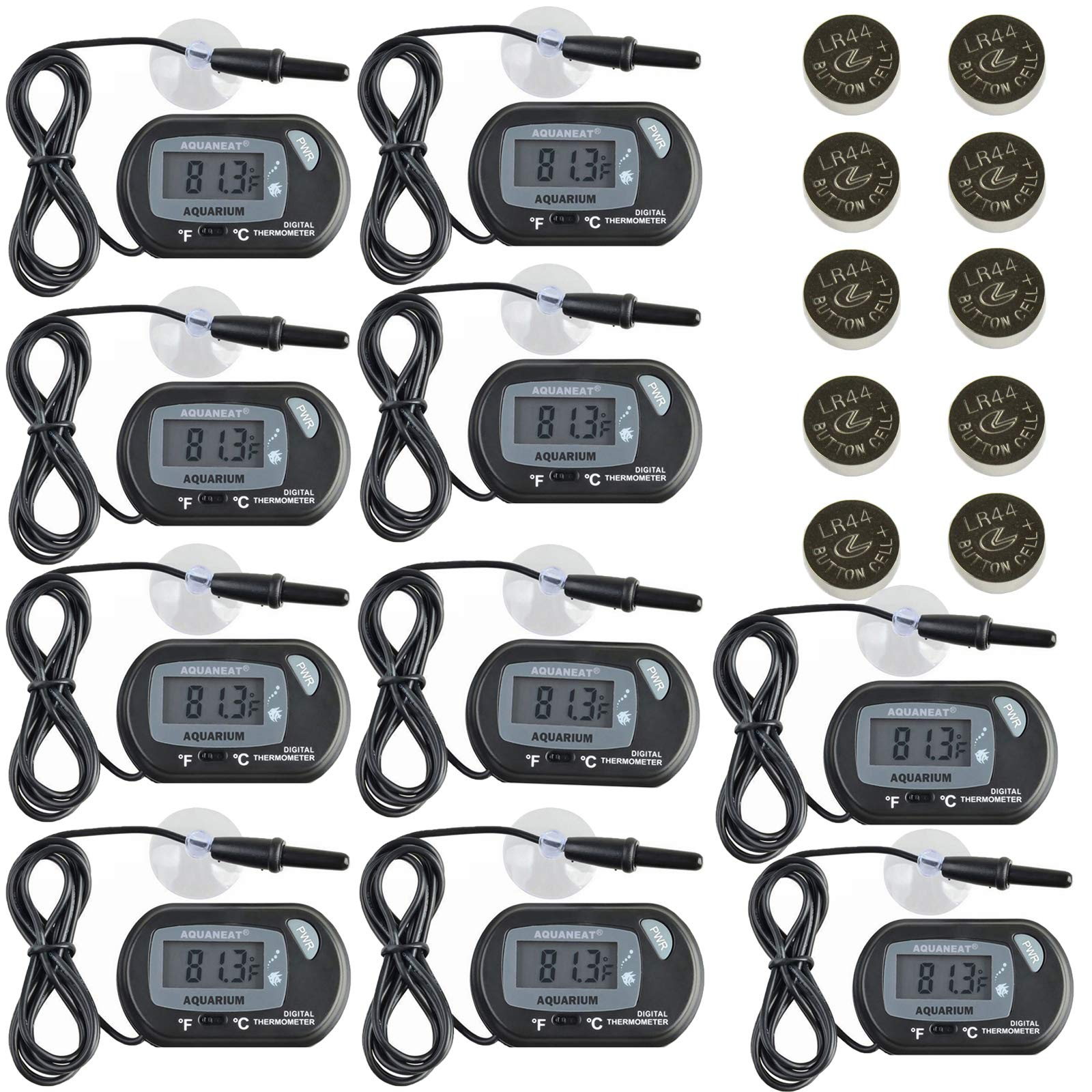 Aquaneat Aquarium Digital Thermometer 10 Pack Fish Tank Water Terrarium Free Extra Button Cell by Aquaneat
