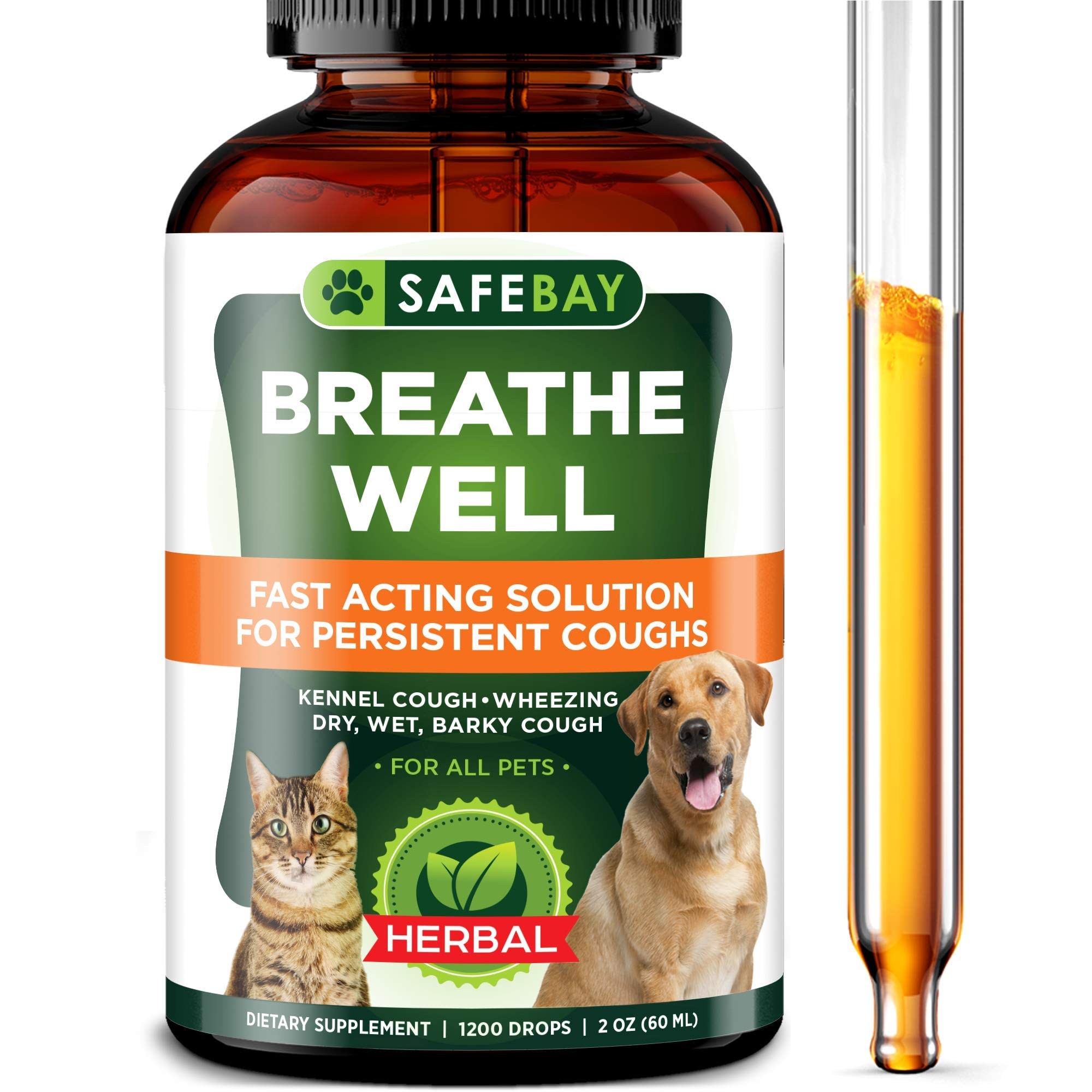 SafeBay Dog Supplement and Cat Supplement Premium Quality - 1200 Drops 2 Oz - Calendula for Dogs, Elderberry for Dogs and Cats Too! Made in USA - for Dry, Wet & Barky Pet Cough - Cruelty Free by SafeBay