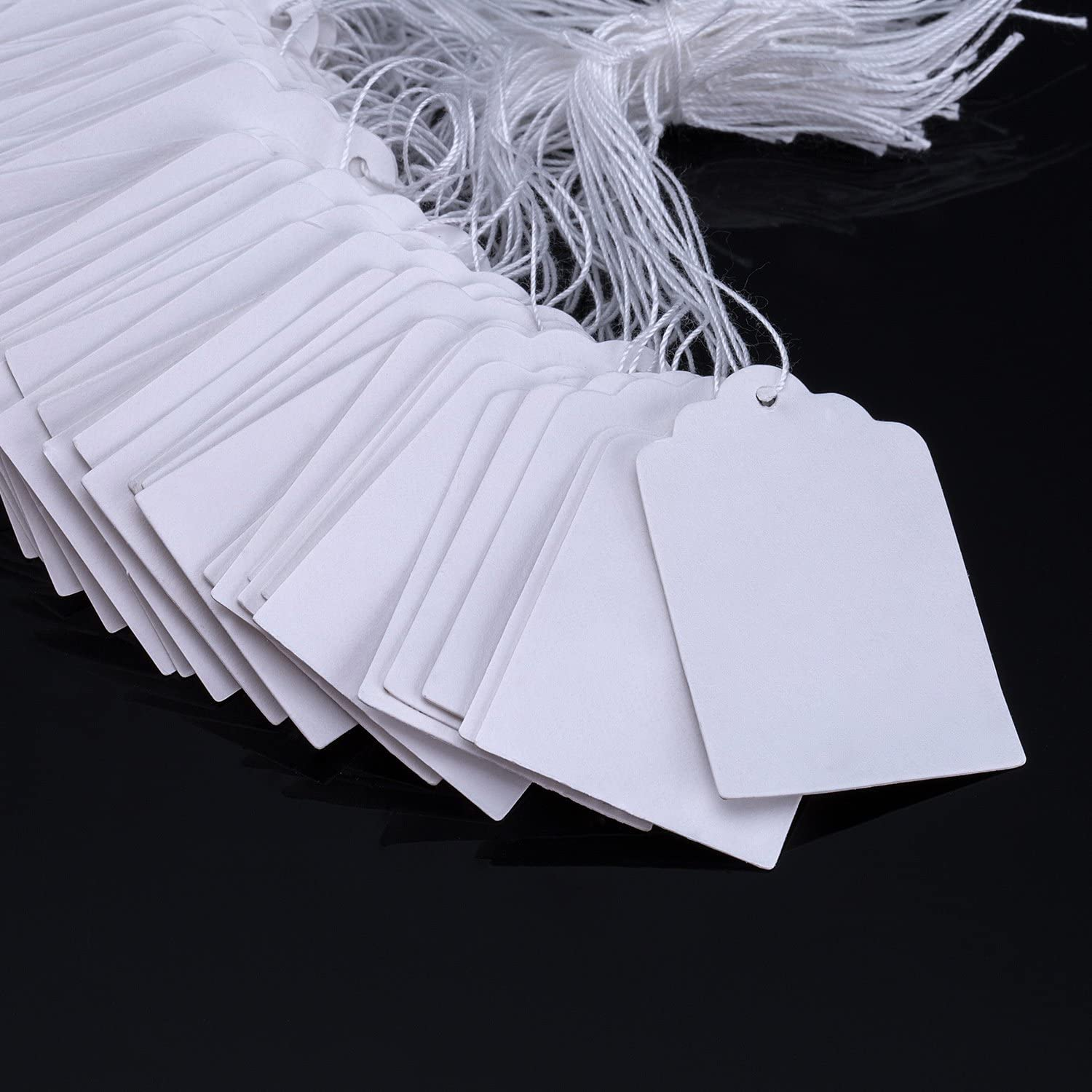 Golden Edge White Marking Tags Price Tags Writable Display Labels with Hanging String 500 Pack 25x15mm