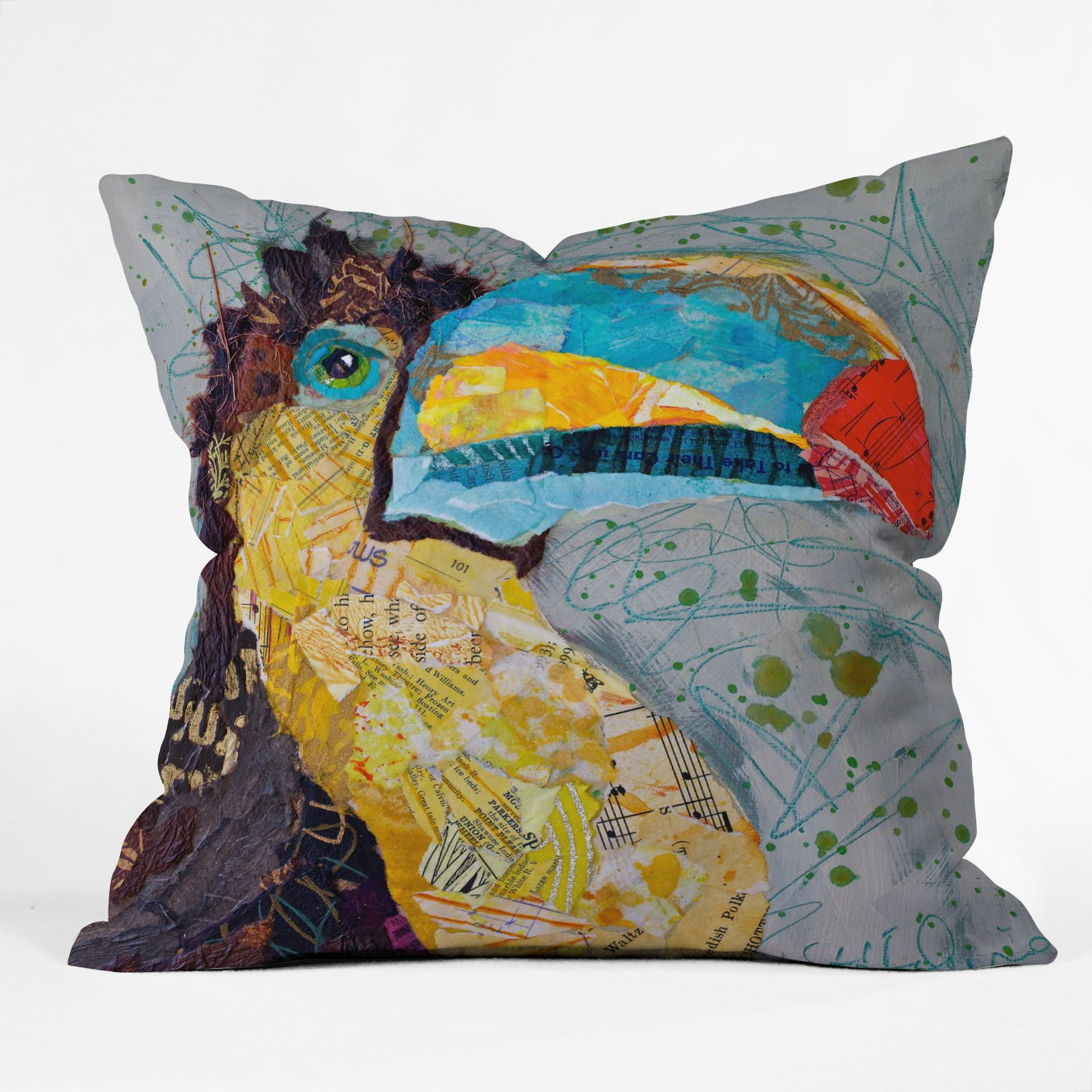 Deny Designs Elizabeth St Hilaire Nelson Toucan Dance Throw Pillow, 26 x 26
