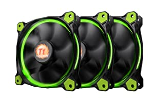 Thermaltake Riing 12 High Static Pressure Circular Ring Green LED Case/Radiator Fan with Anti-Vibration Mounting System Triple Pack Cooling CL-F055-PL12GR-A