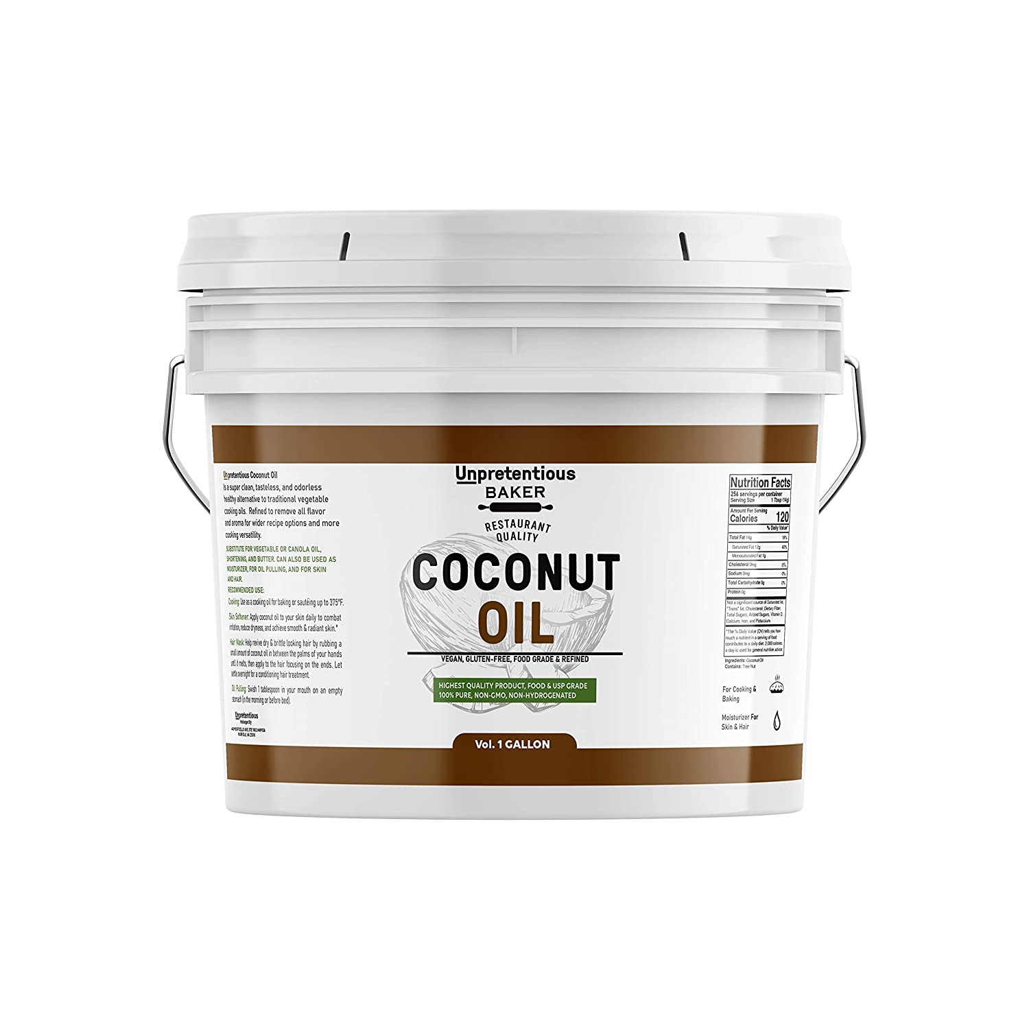 Coconut Oil (1 gallon) by Unpretentious Baker, Resealable Bucket, 100% Pure For Cooking, Hair, & Skin, Refined, Filtered, Food Grade, Non-Hydrogenated, Flavorless & Scentless, Non-GMO