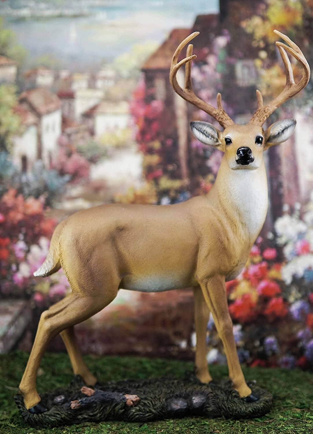 JHVYF Small Buck Statuary 12 Point Resin Deer Statue Garden Lying Sculptures Cabin Animal Figurines Lodge Art D/écor for Indoor Outdoor Home Or Office