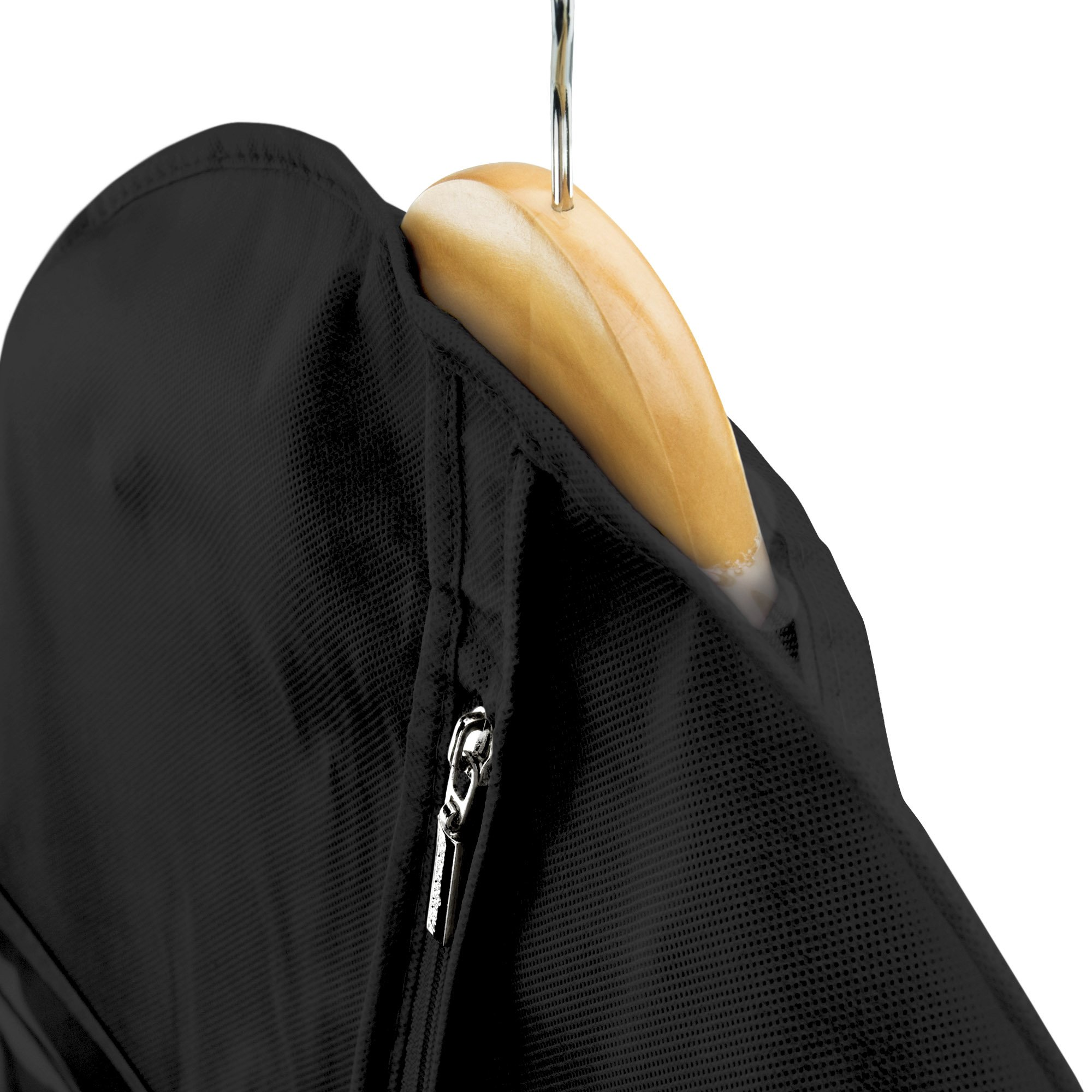 Hangerworld Black Breathable 60 inch Suit Garment Bag - Extra Long cover for Dresses and Gowns, Featuring a Secret Internal Zipped Pocket for safe storage. by HANGERWORLD (Image #3)
