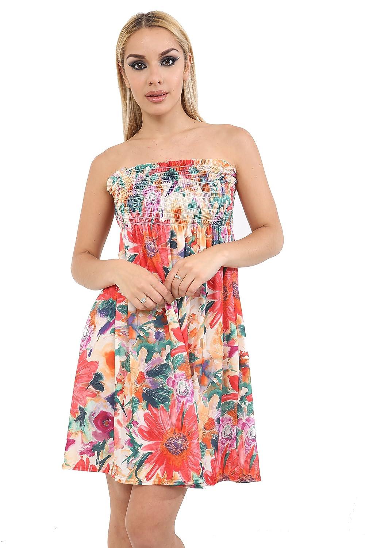 Womens Ladies Diamantes Floral Roses Sheering Swing Bandeau Boobtube Dress Top