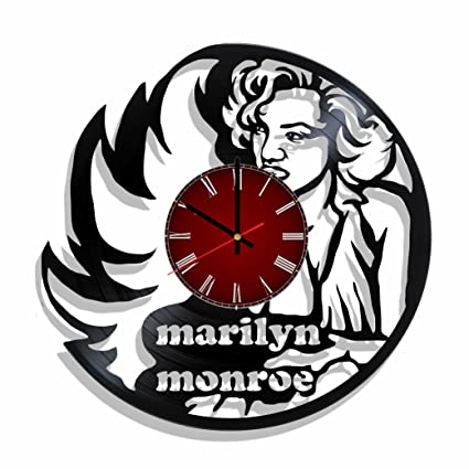 Original vinyl wall clock Marilyn Monroe made from real vinyl record, Marilyn Monroe decal,