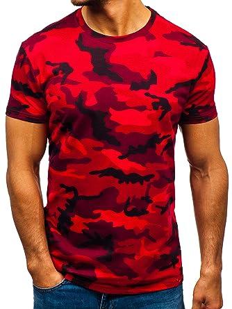 BOLF Hombre Camiseta de Manga Corta Diseño Camuflaje Escote ...