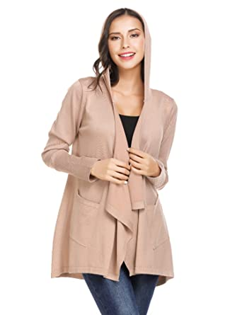 89b7bee9ce2 Zeagoo Womens Open Front Cardigans for Women Fall Cardigan Lightweight  Sweaters with Pockets Khaki S