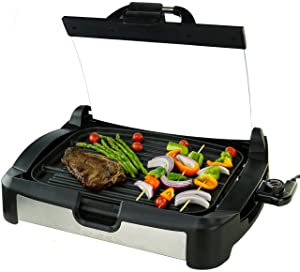 Ovente GR2001B Electric, 1700W Reversible Grill and Griddle, Heat-Tempered Glass Lid, Free Scraper, Removable Temperature Control Knob, Drip Tray, Black