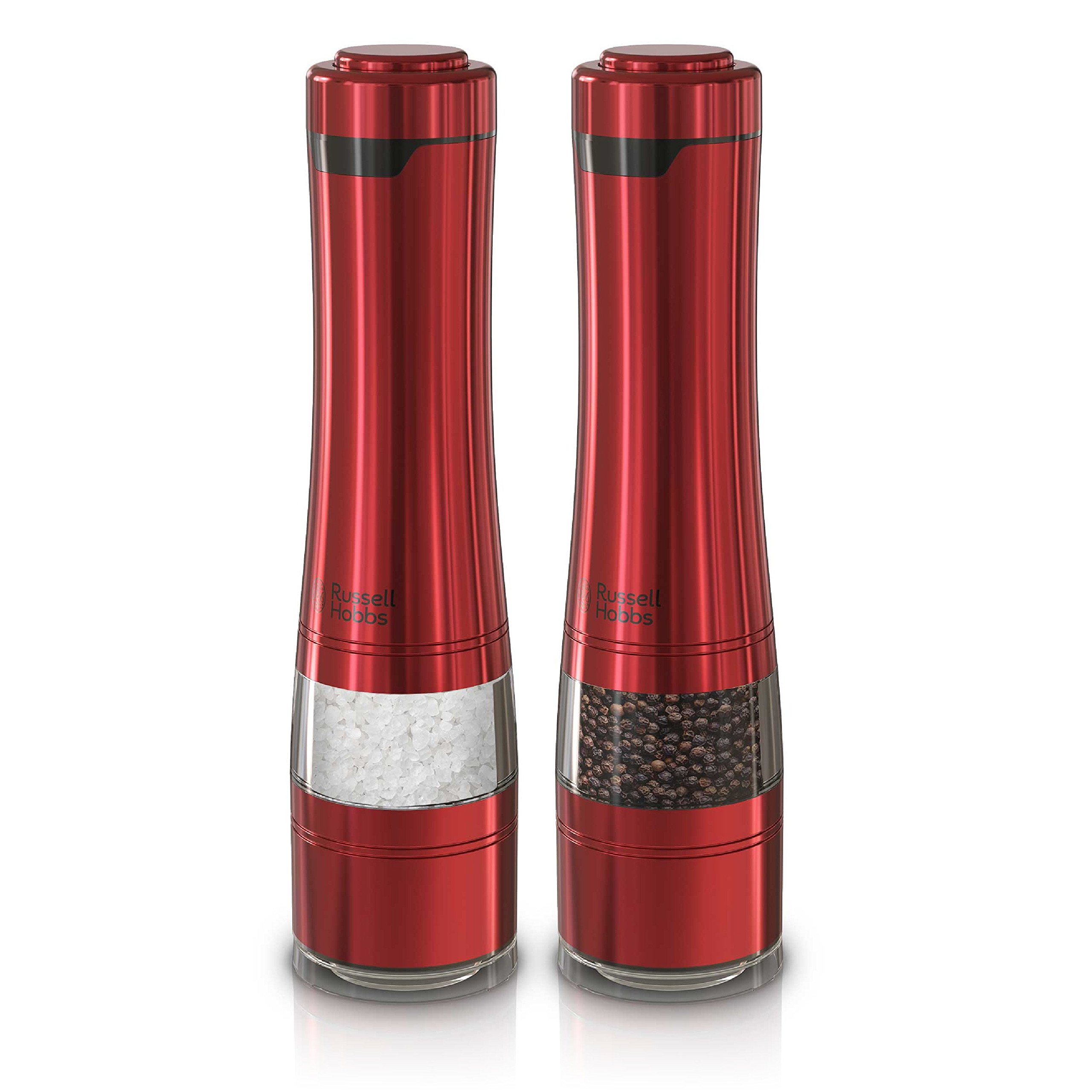 Russell Hobbs RHPK4100RED Electric Salt and Pepper Mill Set with Adjustable Coarseness, Set of 2 Grinders, Red