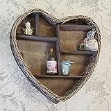 Shabby Chic Wicker Vintage Style Wooden Heart Wall Display Shelf Storage Unit