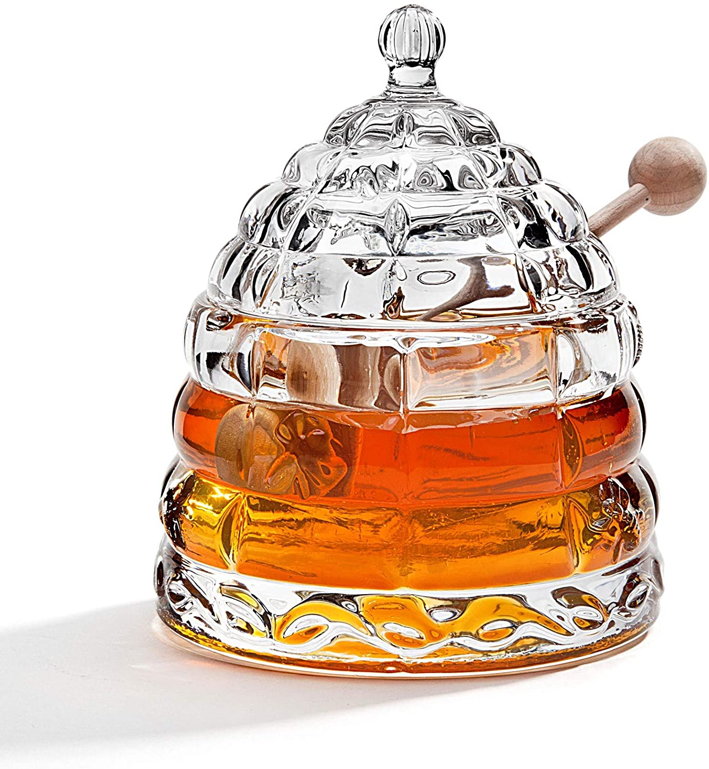 Crystal Beehive Honey Jar with Honey Dipper from Studio Silversmiths
