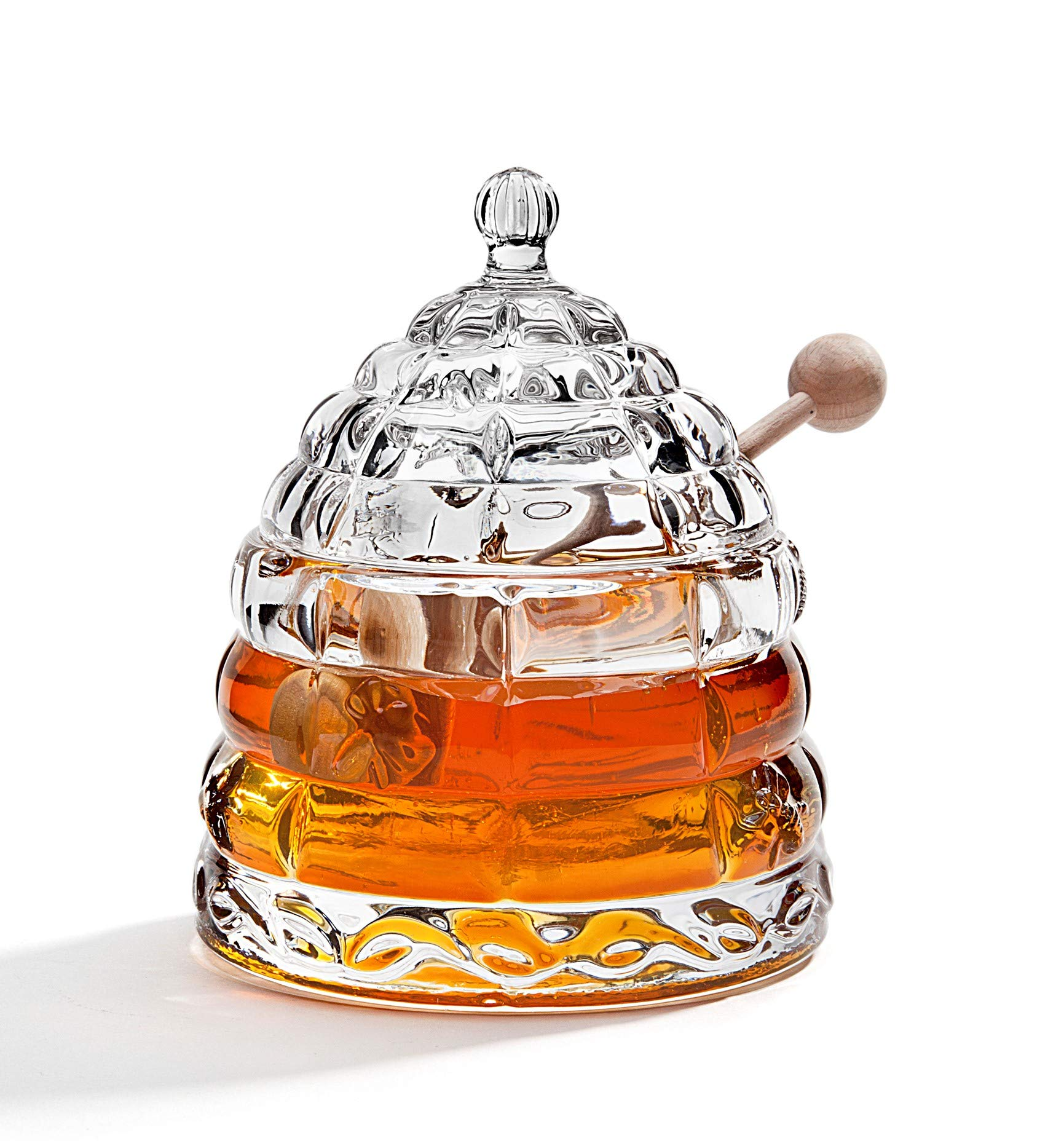 STUDIO SILVERSMITHS Beehive Crystal Honey Jar by STUDIO SILVERSMITHS
