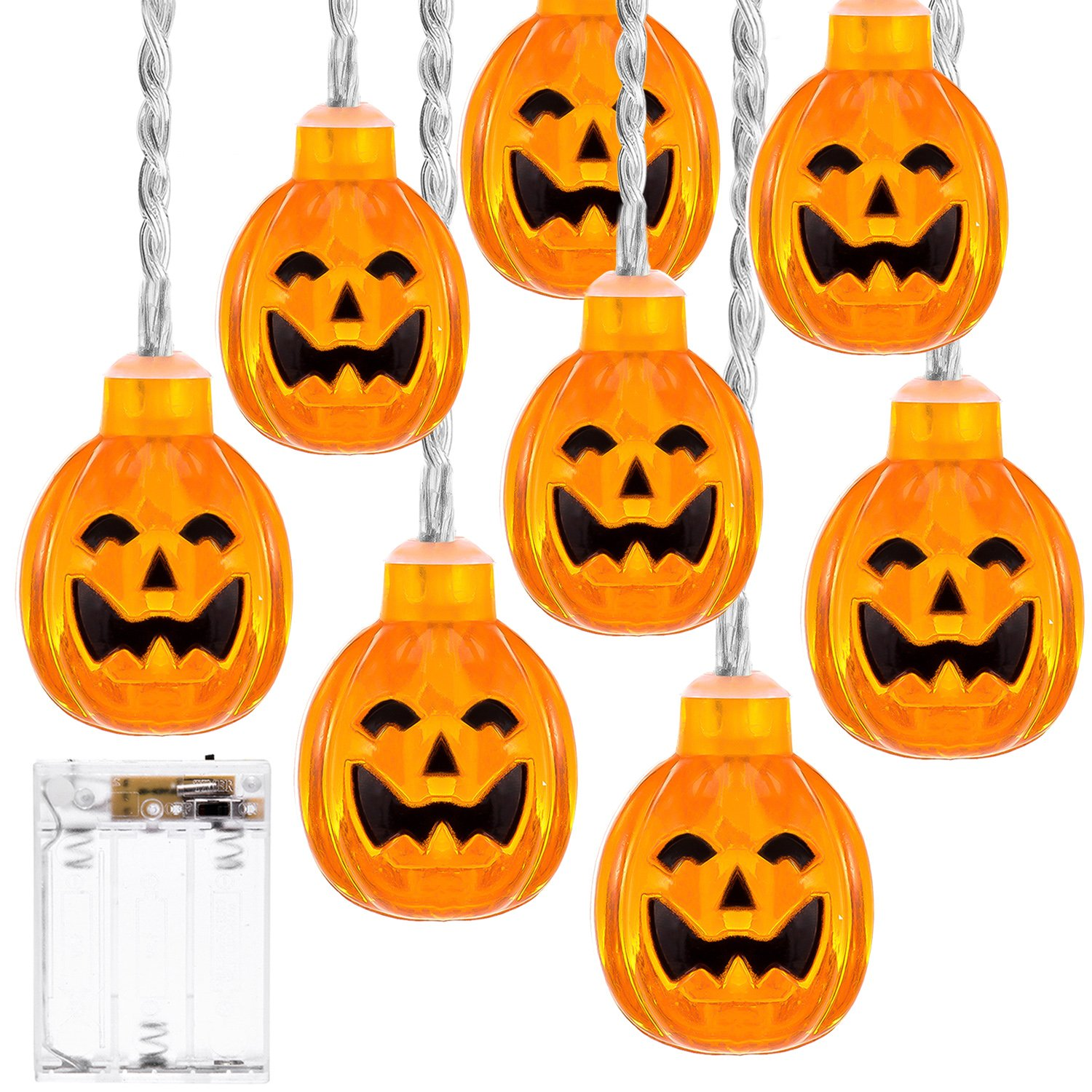 DecorNova Pumpkin String Lights, 20 LEDs Battery Operated 3D Jack-O-Lantern Rope Lights for Patio Outdoor Halloween Christmas Decorations, 10.7 Feet, Warm White