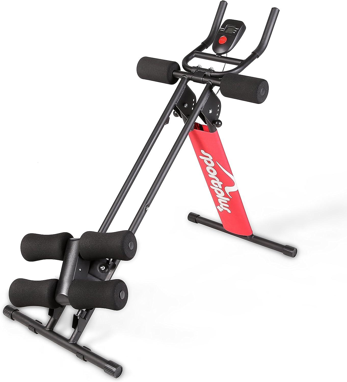 SportPlus Entrenador Abdominal – Máquina Abdominales Plegable para Uso Doméstico – Ordenador de Entrenamiento