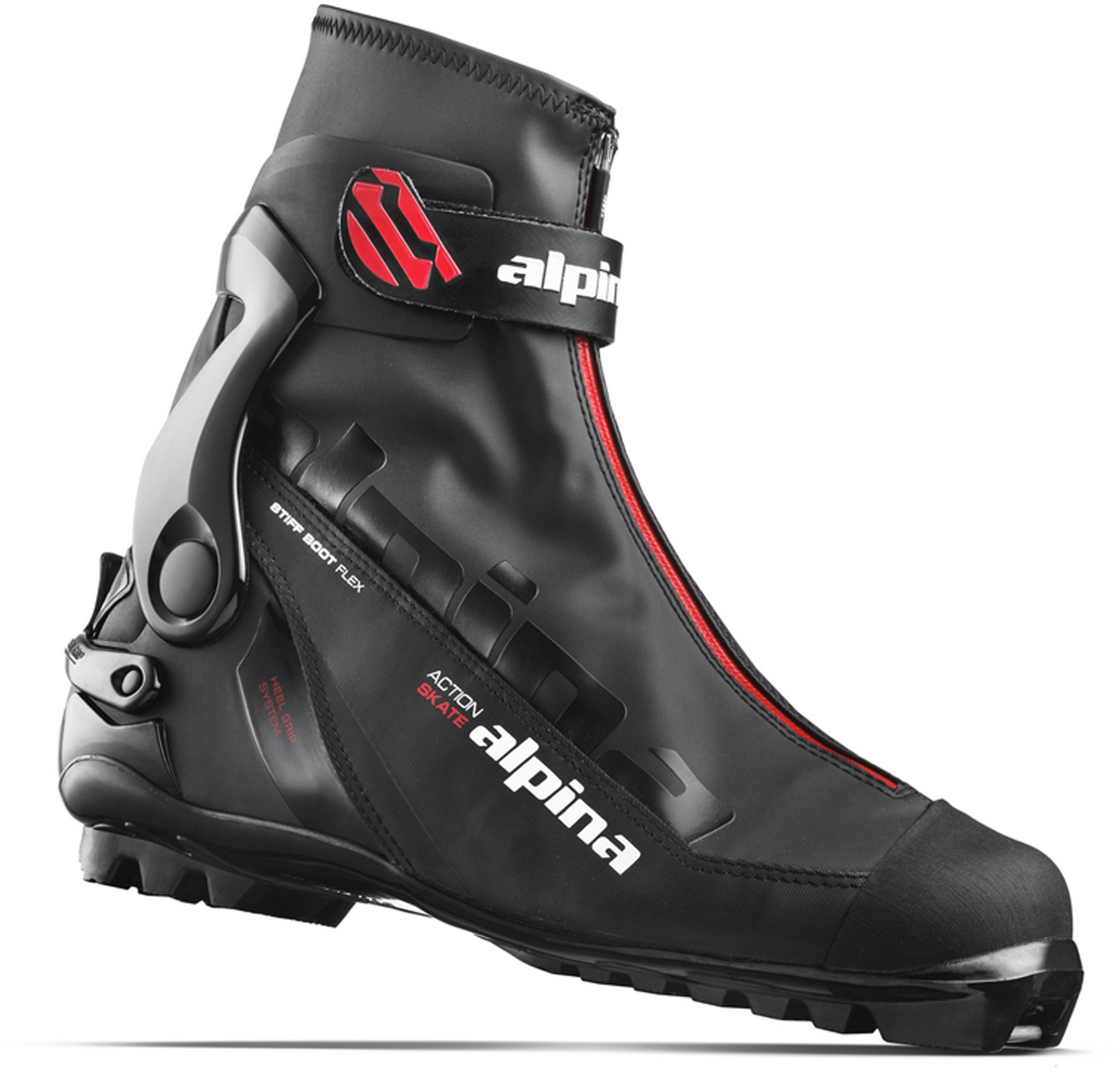 Alpina Sports Ask Skate Cross Country Skate Ski Boots, Euro 42, Black/Red by Alpina