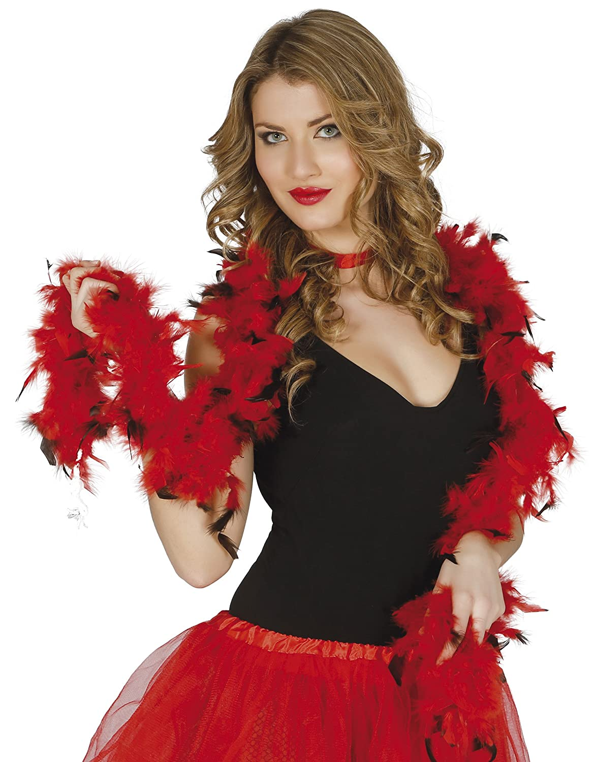 Guirca Fiestas GUI16351 – Black and Red Feather Boa, 1.80 m 40 Gra 1.80 m 40 Gra Müller & Küssner GbR 16351.0