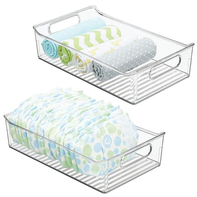mDesign Juego de 2 cestas organizadoras para Cuarto de bebé ...