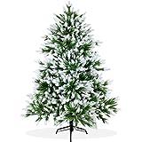 Künstlicher Weihnachtsbaum 150cm DeLuxe in Premium Spritzguss Qualität, angeschneite Nordmanntanne, Tannenbaum mit PE Kunststoff Nadeln, Nordmannstanne Christbaum im beschneit Design